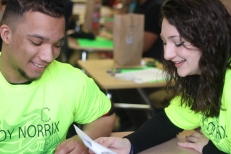 Seniors Walter Walker and Liana Luciano work together to plan Link Crew events. They plan to go see their freshman. Photo Credit / Meghan Lewis