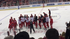 Coach Blashill has the team gather around to talk. They are preparing for the game against Tampa Bay. Photo Credit / Abby Farrer