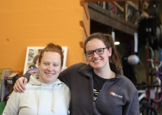 Erin Sloan and Erin Denay pose together at Open Roads. Sloan is the program manager and Denay is the executive director. Photo Credit / Henry Snapp