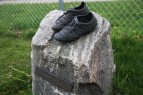 Tribute statue to a fallen lady Knights soccer player which is touched by every player before every home game.