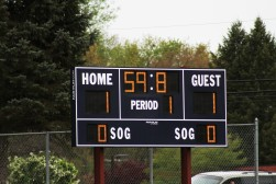 The scoreboard in the Loy Norrix vs. Kalamazoo Central soccer game reads 1-1 after a goal by junior forwards Catie Stamper assisted by sophomore forward Olivia Boblet.