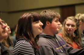 Maggie Lager, Isaac Rubin and Emma Whitehead watch awards. PHOTO CREDIT / Izze Fahl