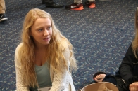 Elle Davis is listens while exchange students tell about their experiences. She will spend her next year in Thailand and is looking for all the advice she can get. Davis has started to practice Thai already. Photo Credit / Sarita Nieminem