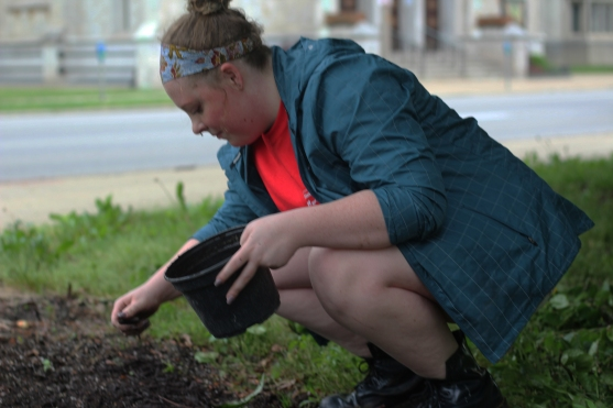 Junior Ferren Olmsted-Meade works in Bronson park planting. She spent the day working with Kalamazoo in Bloom Volunteers. Photo Credit / Hannah Pittman