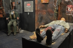 Two torture victims await visitors in the Niles Haunted House to scare visitors. Photo credit / Jordyn Carlton