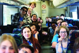 After a long day at the MIPA competition the newspaper and yearbook teams relax on their way back to Loy Norrix. The competition lasted almost the entire school day. Photo Credit / Sofie Nehlsen