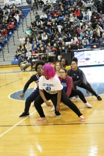 The Dazzling Diamonds end the pep assembly with their flashdance. This is their first time dancing at a Winterfest pep assembly.